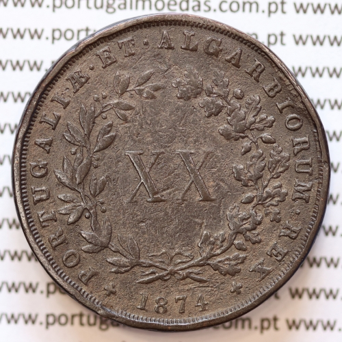 "MOEDA 20 RÉIS COBRE ( XX RÉIS ) 1874 VARIANTE ""4"" COM PÉ"" (BC) - REI D. LUIS I - WORLD COINS PORTUGAL KM515"