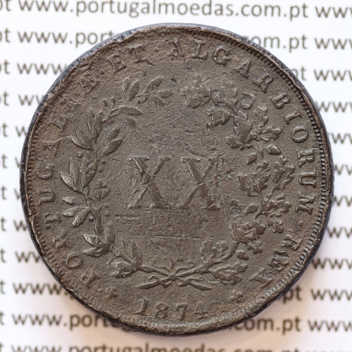"MOEDA 20 RÉIS COBRE ( XX RÉIS ) 1874 VARIANTE ""4"" COM PÉ"" (BC- / REG) - REI D. LUIS I - WORLD COINS PORTUGAL KM515"
