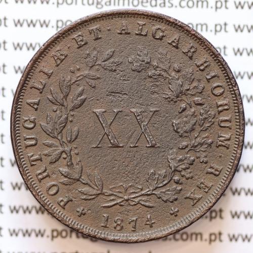 """XX Réis 1874 Cobre D. Luis I, 20 Réis ou Vintém de 1874, """"data normal"""", (MBC), World Coins Portugal KM 515"""