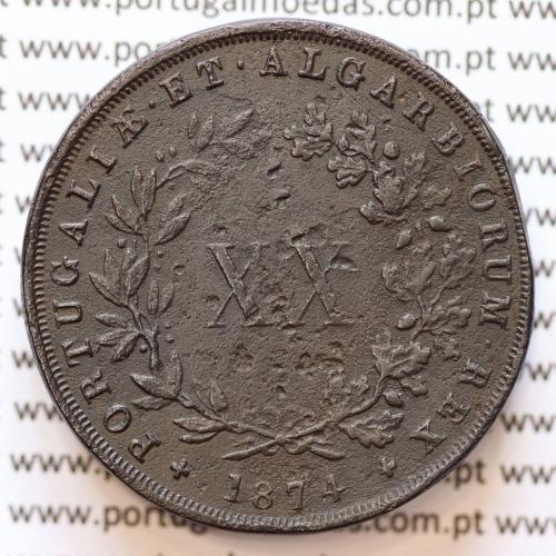 XX Réis 1874 Cobre D. Luis I, 20 Réis ou Vintém de 1874, data normal, (BC), World Coins Portugal KM 515