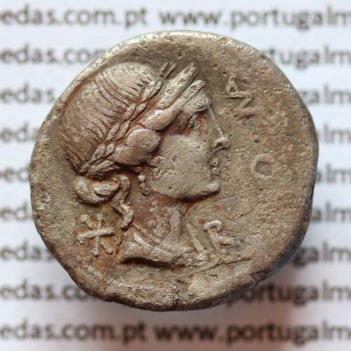 """MOEDA DENÁRIO PRATA DA REPÚBLICA ROMANA FAMÍLIA """"AEMILIA"""" (114 a.C.-113 a.C.) """"MANIUS AELIUS SCAURUS"""""""