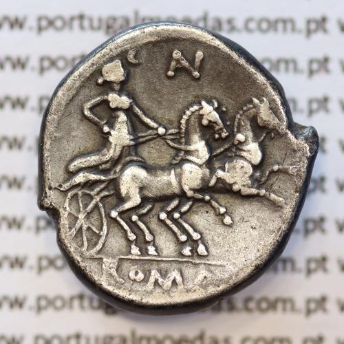 """MOEDA DENÁRIO PRATA DA REPÚBLICA ROMANA FAMÍLIA """"AURELIA"""" (ANO 194 a.C. a 190 a.C.) """"AURELIUS"""" LEGENDA ( AV - ROMA )"""