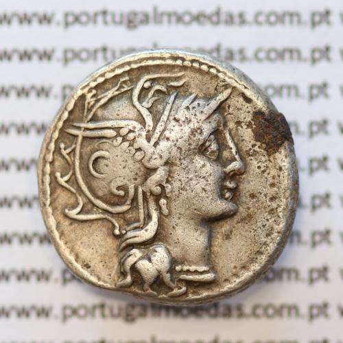 """MOEDA DENÁRIO PRATA DA REPÚBLICA ROMANA FAMÍLIA """"CLAUDIA"""" (ANO 110 a.C. a 109 a.C.) """"C. CLAUDIUS PULCHER"""" LEGENDA (C. PVLCHER.)"""