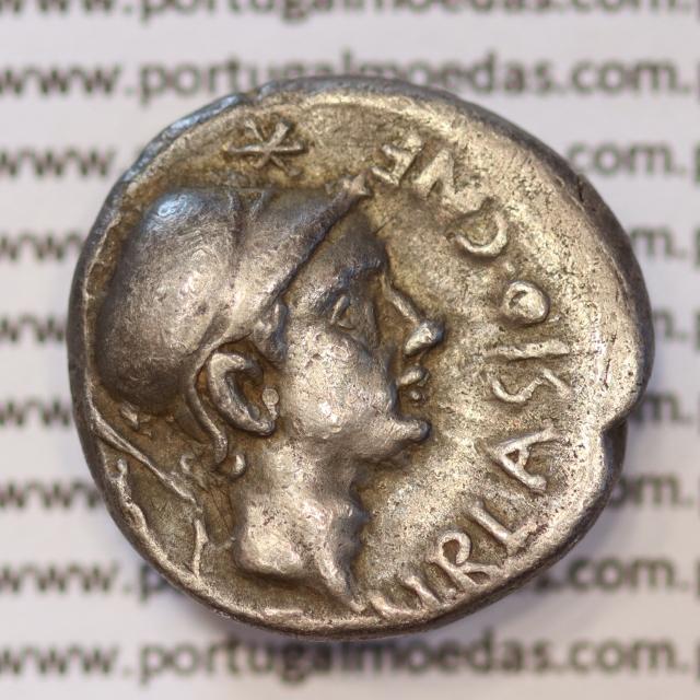 """MOEDA DENÁRIO PRATA DA REPÚBLICA ROMANA FAMÍLIA """"CORNELIA"""" (ANO 112 a.C. a 111 a.C.) LEGENDA (CN. BLASIO. CN. F / ROMA.)"""