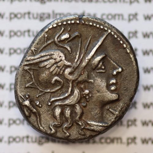 """MOEDA DENÁRIO PRATA DA REPÚBLICA ROMANA FAMÍLIA """"CUPIENNIA"""" (ANO 147 a.C.) """"L. CUPIENNIUS"""" LEGENDA (L. CVP / ROMA.)"""