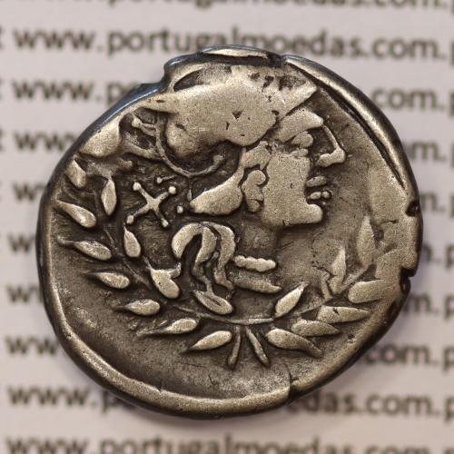 """MOEDA DENÁRIO PRATA DA REPÚBLICA ROMANA FAMÍLIA """"GELLIA"""" (ANO 138 a.C.) """"CNAEUS GELLIUS"""" LEGENDA (X/ CN. GEL.. / ROMA)"""