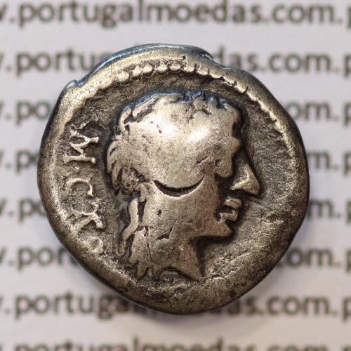 """MOEDA QUINÁRIO PRATA DA REPÚBLICA ROMANA FAMÍLIA """"PORCIA"""" (ANO 89 a.C.) """"M. PORCIUS CATO"""" LEGENDA (M.CATO / VICTRIX)"""