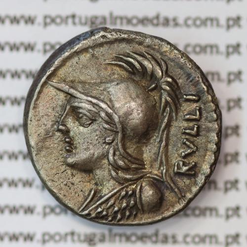 """MOEDA DENÁRIO PRATA DA REPÚBLICA ROMANA FAMÍLIA """"SERVILIA"""" (ANO 100 a.C.) LEGENDA (RVLLI. / P. SERVILI. M. F.)"""