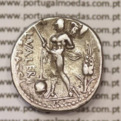 """MOEDA DENÁRIO PRATA DA REPÚBLICA ROMANA FAMÍLIA """"VALERIA"""" (ANO 108 a.C. a 107 a.C.) LEGENDA (L. VALERI. ELACCI.)"""