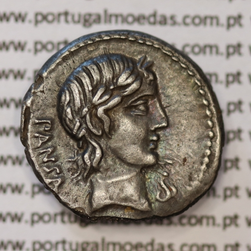 """MOEDA DENÁRIO PRATA DA REPÚBLICA ROMANA FAMÍLIA """"VIBIA"""" (ANO 90 a.C.) LEGENDA (PANSA / C. VIBIVS. C. F.)"""