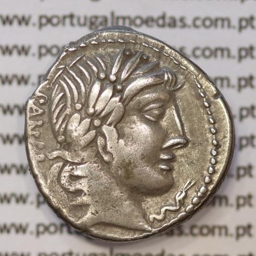"""MOEDA DENÁRIO PRATA DA REPÚBLICA ROMANA FAMÍLIA """"VIBIA"""" (ANO 90 a.C.) """"C. VIBIUS C. F. PANSA"""" LEGENDA (PANSA / C. VIBIVS. C. F.)"""