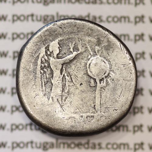 MOEDA VICTORIATUS EM PRATA DA REPUBLICA ROMANA FAMÍLIA ANÓNIMA (ANO 211 a.C.) CABEÇA  JÚPITER   VITÓRIA E TROFÉU DE COROAÇÃO.