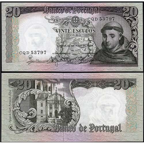 NOTA DE 20 ESCUDOS 1964 SANTO ANTÓNIO, 20$00 26/05/1964 CHAPA: 7 - BANCO DE PORTUGAL (NÃO CIRCULADA)