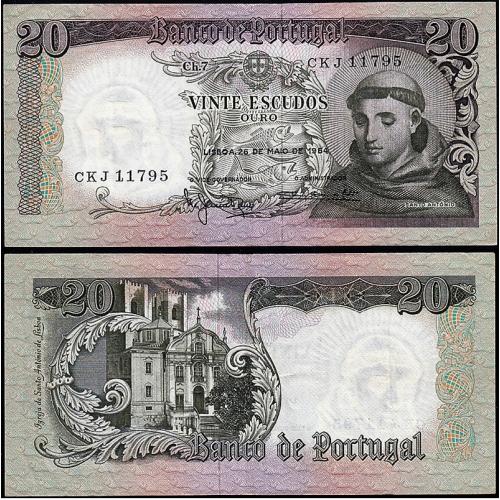 Nota de 20 Escudos 1964 Santo António, 20$00 26/05/1964 Chapa: 7 - Banco de Portugal (Pouco Circulada)