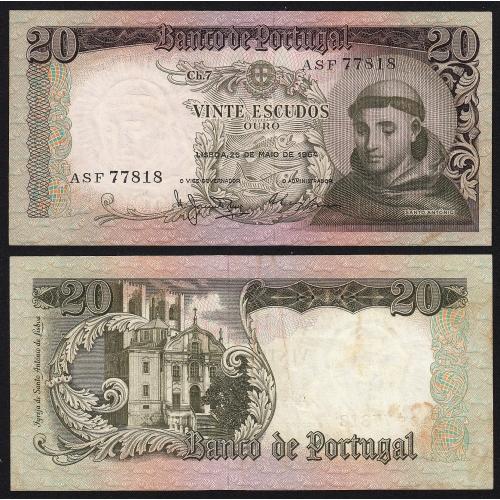 Nota de 20 Escudos 1964 Santo António, 20$00 26/05/1964 Chapa: 7 - Castanha - Banco de Portugal (Pouco Circulada)