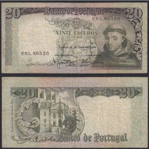 Nota de 20 Escudos 1964 Santo António, 20$00 26/05/1964 Chapa: 7 - Banco de Portugal (Circulada)