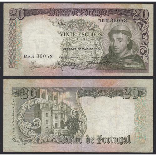 Nota de 20 Escudos 1964 Santo António, 20$00 26/05/1964 Chapa: 7 - Castanha - Banco de Portugal (Circulada)