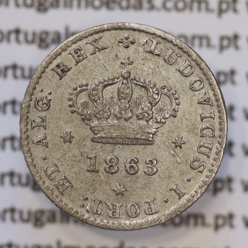 Moeda 50 Réis Prata 1863 ou Meio Tostão Prata 1863 (MBC+) - Rei D. LUIS I - World Coins Portugal KM 506