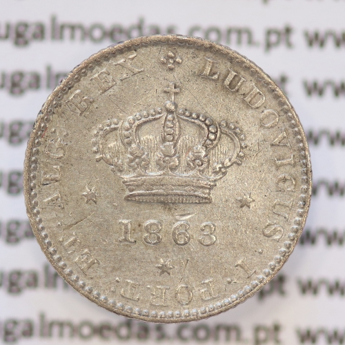 Moeda 50 Réis Prata 1863 ou Meio Tostão Prata 1863 (MBC) - Rei D. LUIS I - World Coins Portugal KM 506