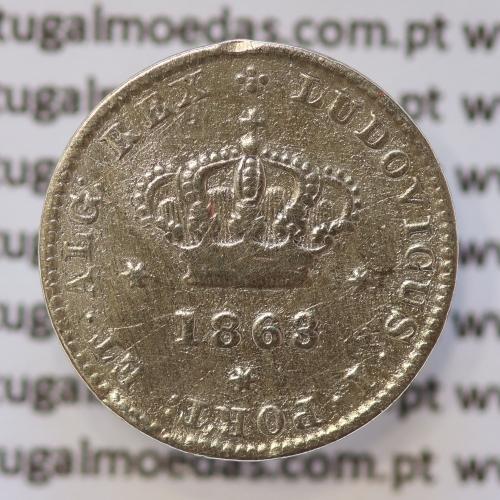 Moeda 50 Réis Prata 1863 ou Meio Tostão Prata 1863 (BC) - Rei D. LUIS I - World Coins Portugal KM 506