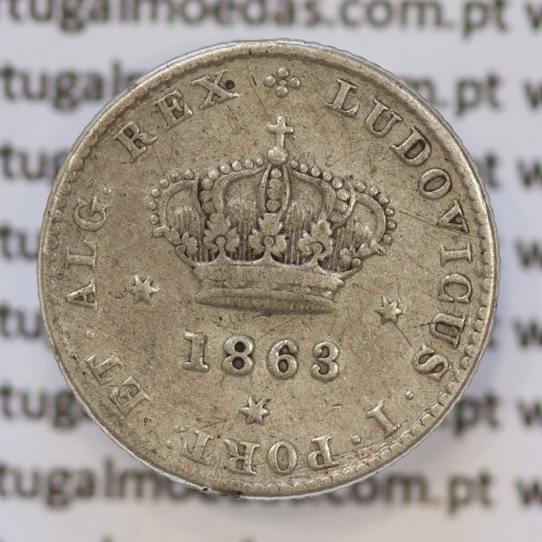Moeda 50 Réis Prata 1863 ou Meio Tostão Prata 1863 (BC- / REG) - Rei D. LUIS I - World Coins Portugal KM 506