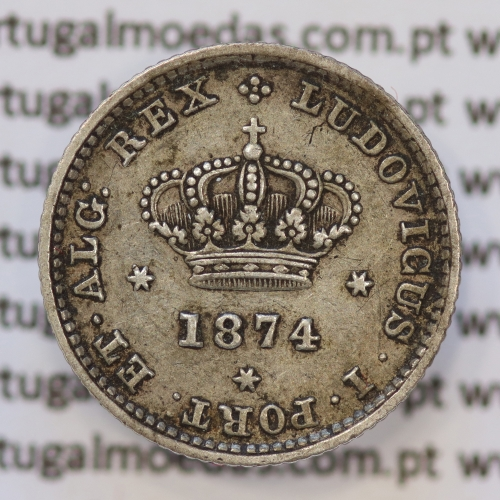 Moeda 50 Réis Prata 1874 ou Meio Tostão Prata 1874 (MBC / BELA) - Rei D. LUIS I - World Coins Portugal KM 506