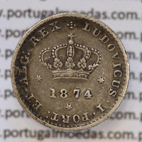 Moeda 50 Réis Prata 1874 ou Meio Tostão Prata 1874 (MBC+) - Rei D. LUIS I - World Coins Portugal KM 506