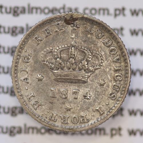 Moeda 50 Réis Prata 1874 ou Meio Tostão Prata 1874 (BC+) - Rei D. LUIS I - World Coins Portugal KM 506