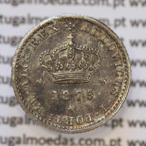 Moeda 50 Réis Prata 1875 ou Meio Tostão Prata 1875 (MBC / BELA) - Rei D. LUIS I - World Coins Portugal KM 506