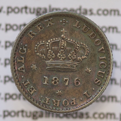 50 Réis Prata 1876 ou Meio Tostão Prata 1876 (MBC+ / BELA) - Rei D. LUIS I - World Coins Portugal KM 506