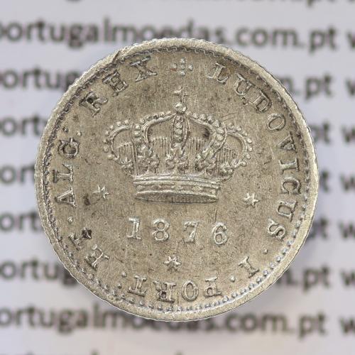Moeda 50 Réis Prata 1876 ou Meio Tostão Prata 1876 (MBC+ / BELA) - Rei D. LUIS I - World Coins Portugal KM 506