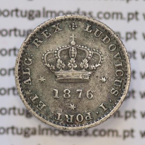 Moeda 50 Réis Prata 1876 ou Meio Tostão Prata 1876 (MBC+) - Rei D. LUIS I - World Coins Portugal KM 506