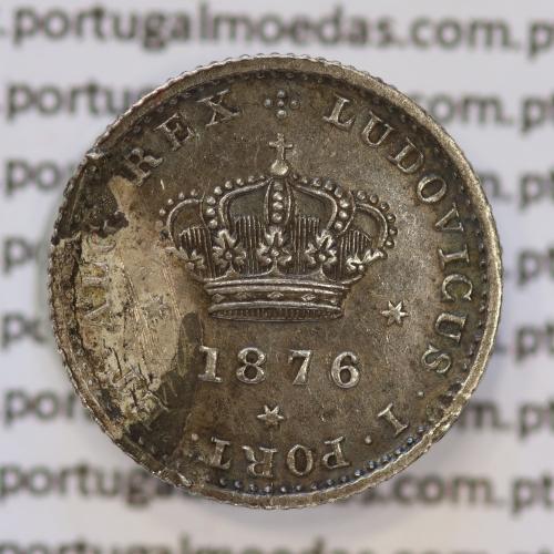 Moeda 50 Réis Prata 1876 ou Meio Tostão Prata 1876 (BC) - Rei D. LUIS I - World Coins Portugal KM 506