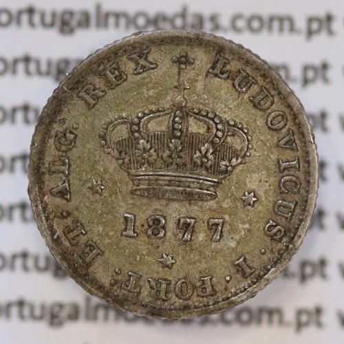 Moeda 50 Réis Prata 1877 ou Meio Tostão Prata 1877 (BELA) - Rei D. LUIS I - World Coins Portugal KM 506
