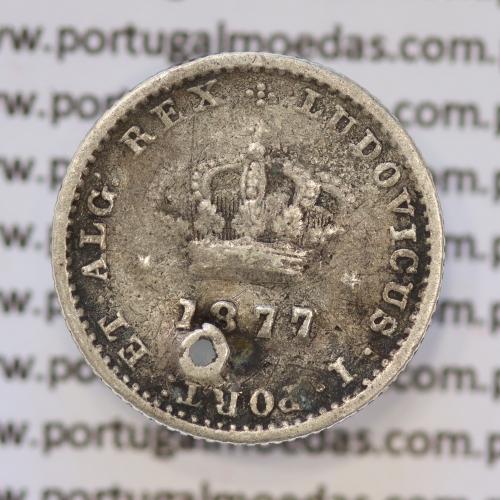 Moeda 50 Réis Prata 1877 ou Meio Tostão Prata 1877 (BC) - Rei D. LUIS I - World Coins Portugal KM 506