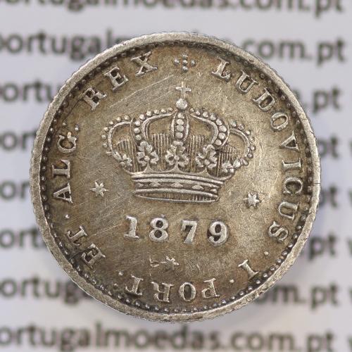 Moeda 50 Réis Prata 1879 ou Meio Tostão Prata 1879 (MBC) - Rei D. LUIS I - World Coins Portugal KM 506