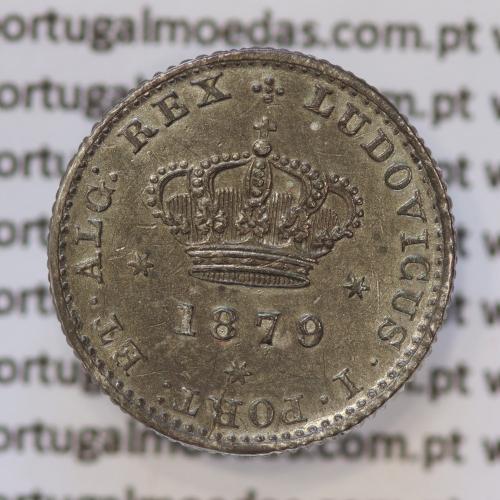 Moeda 50 Réis Prata 1879 ou Meio Tostão Prata 1879 (BELA) - Rei D. LUIS I - World Coins Portugal KM 506