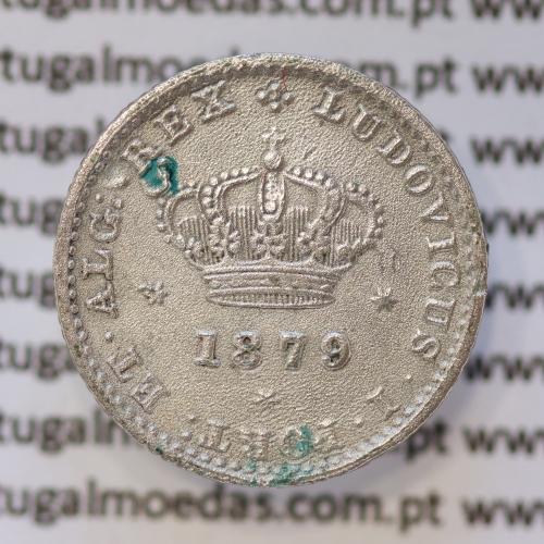 Moeda 50 Réis Prata 1879 ou Meio Tostão Prata 1879 (BC) - Rei D. LUIS I - World Coins Portugal KM 506