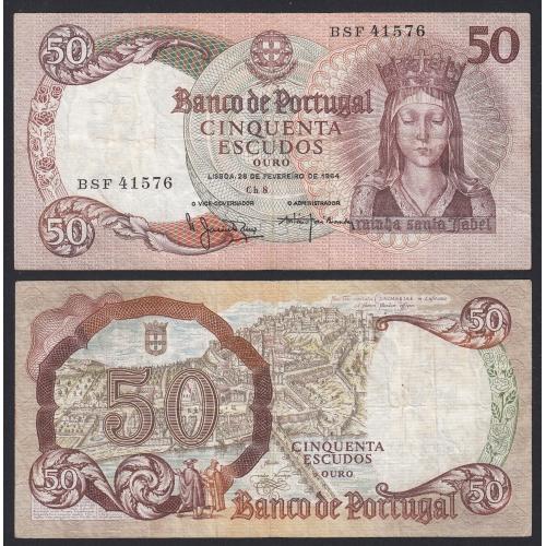 Nota de 50 Escudos 1964 Rainha Santa Isabel, 50$00 28/02/1964 Chapa: 8 - Banco de Portugal (Circulada)