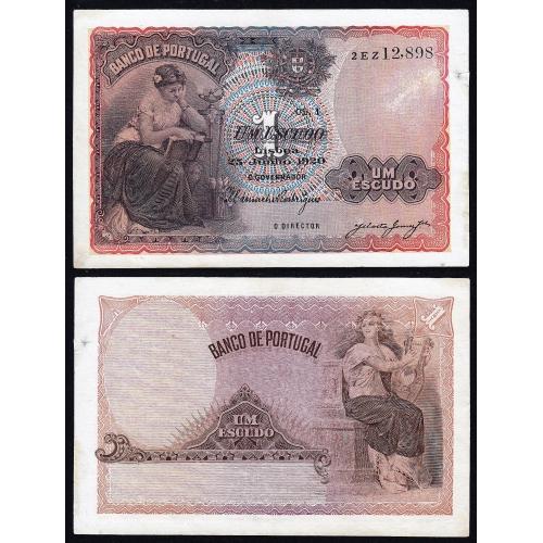 Nota de 1 Escudo 1920 'Mulher Sentada à Esquerda, 1$00 25/06/1920 Chapa: 1 - Banco de Portugal (Circulada)