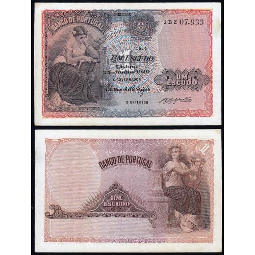Nota de 1 Escudo 1920 'Mulher Sentada à Esquerda, 1$00 25/06/1920 Chapa: 1 - Banco de Portugal (Pouco Circulada)