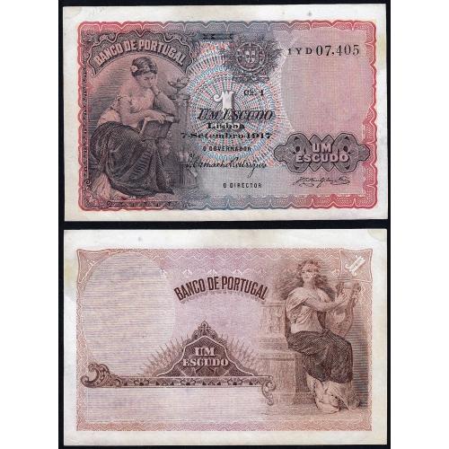 Nota de 1 Escudo 1917 'Mulher Sentada à Esquerda', 1$00 07/09/1917 Chapa: 1 - Banco de Portugal (Circulada)