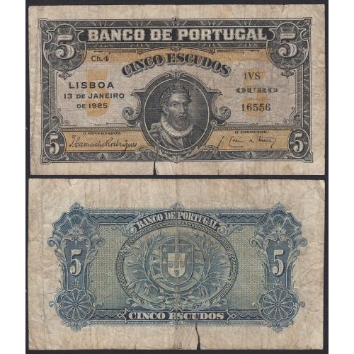 Nota de 5 Escudos 1925 D. Álvaro Vaz de Almada, 5$00 13/01/1925 Chapa: 4 - Banco de Portugal (Circulada)