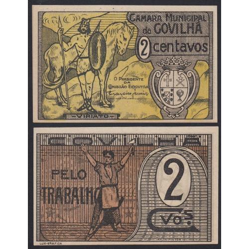 CÉDULA CÂMARA MUNICIPAL DA COVILHÃ - VALE 2 CENTAVOS (NÃO CIRCULADA)