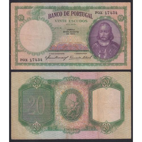 Nota de 20 Escudos 1944 D.António Luiz de Meneses, 20$00 29/08/1944 Chapa: 6 - Banco de Portugal (Circulada)