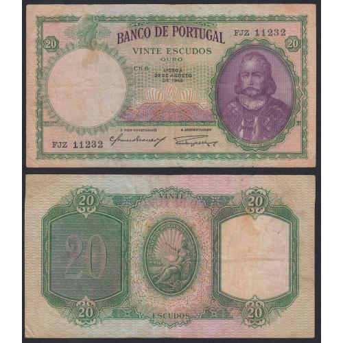 Nota de 20 Escudos 1944 D.António Luiz de Menezes, 20$00 29/08/1944 Chapa: 6 - Banco de Portugal (Circulada)