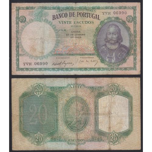 Nota de 20 Escudos 1959 D.António Luiz de Menezes, 20$00 27/01/1959 Chapa: 6 - Banco de Portugal (Circulada)
