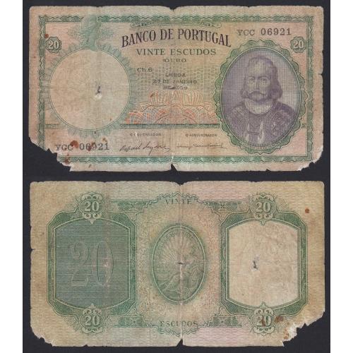 Nota de 20 Escudos 1959 D.António Luiz de Menezes, 20$00 27/01/1959 Chapa: 6 - Banco de Portugal (Muito Circulada)