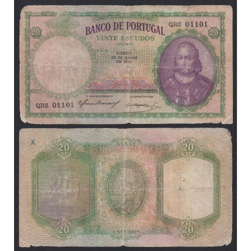 Nota de 20 Escudos 1951 D.António Luiz de Menezes, 20$00 26/06/1951 Chapa: 6 - Banco de Portugal (Circulada)