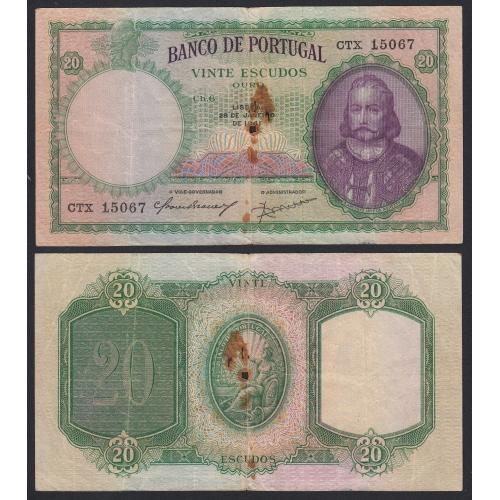 Nota de 20 Escudos 1941 D.António Luiz de Menezes, 20$00 28/01/1941 Chapa: 6 - Banco de Portugal (Circulada)